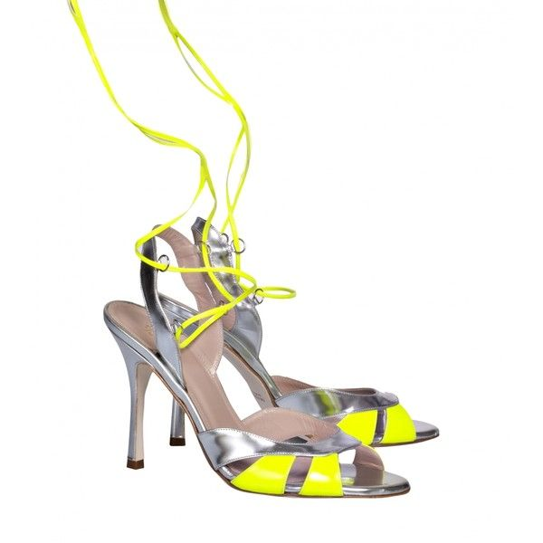 De Siena Josephine Laced Cut Out Metallic Leather Heeled Sandals (£280) ❤ liked on Polyvore featuring shoes, sandals, silver, cut out sandals, neon sandals, open toe sandals, neon shoes and yellow shoes