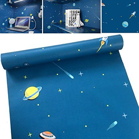 Simplelife4u Funny Universe Decorative Contact Paper Removable Shelf Drawer Liner For Boys Girls Bedroom 17x118 Inch Drawer Liner Boy Girl Bedroom Shelf Liner