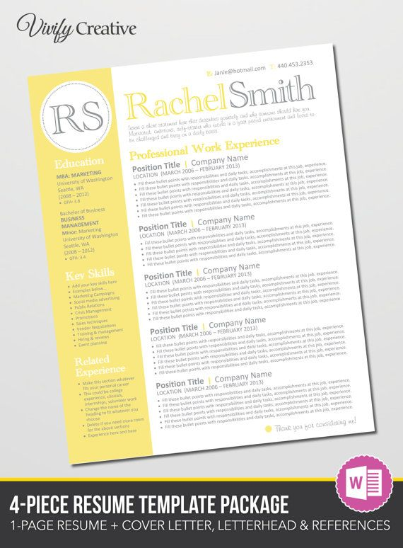 Resume Template Editable Download - Cover Letter, References ...