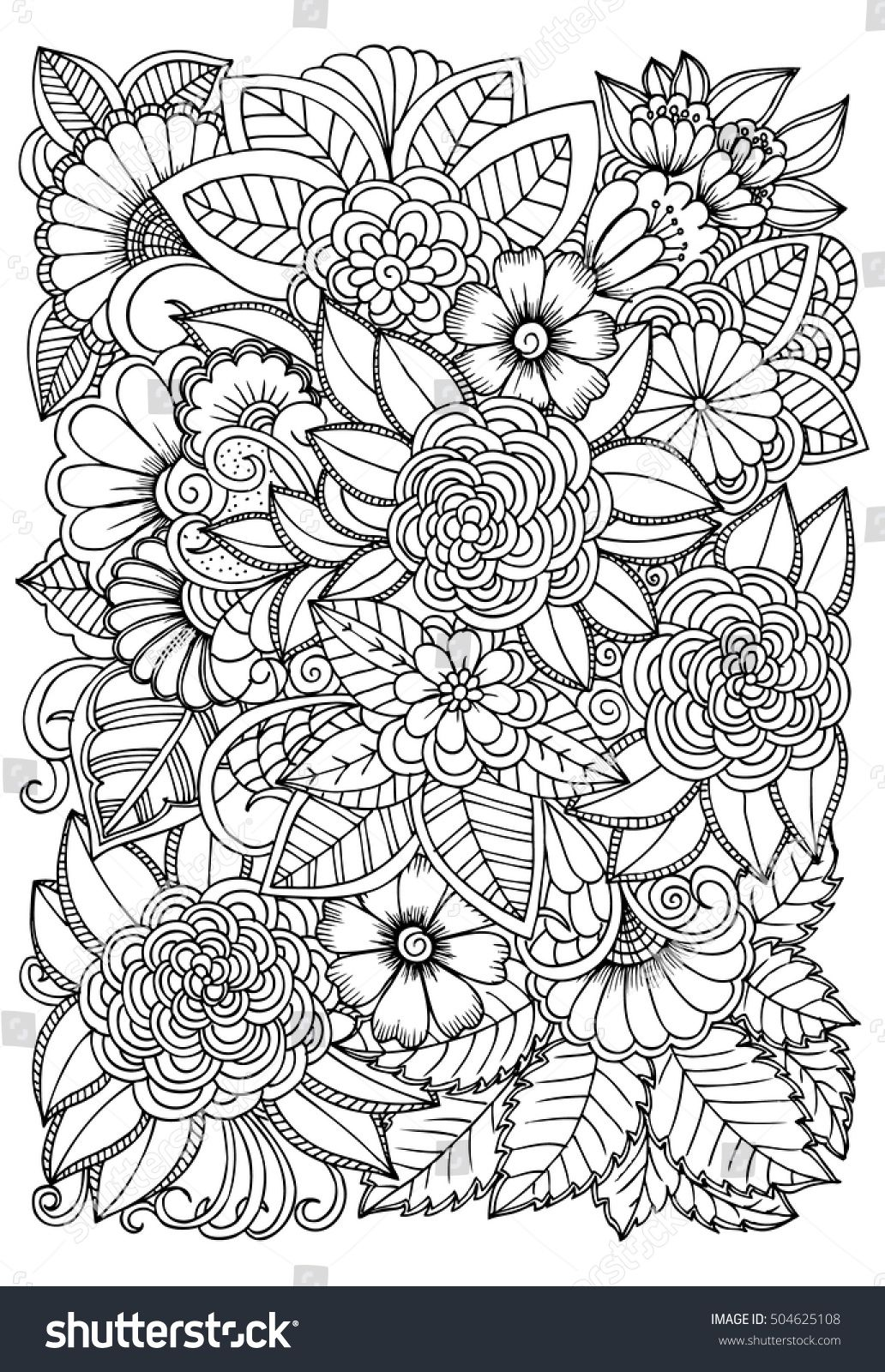 Black And White Flower Pattern For Coloring Doodle Floral Drawing Art Therapy Coloring Page Rel Flower Pattern Drawing Floral Drawing Pattern Coloring Pages