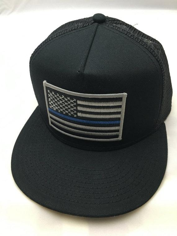 Thin Blue Line AMERICAN FLAG/Black Trucker Hat, Snapback