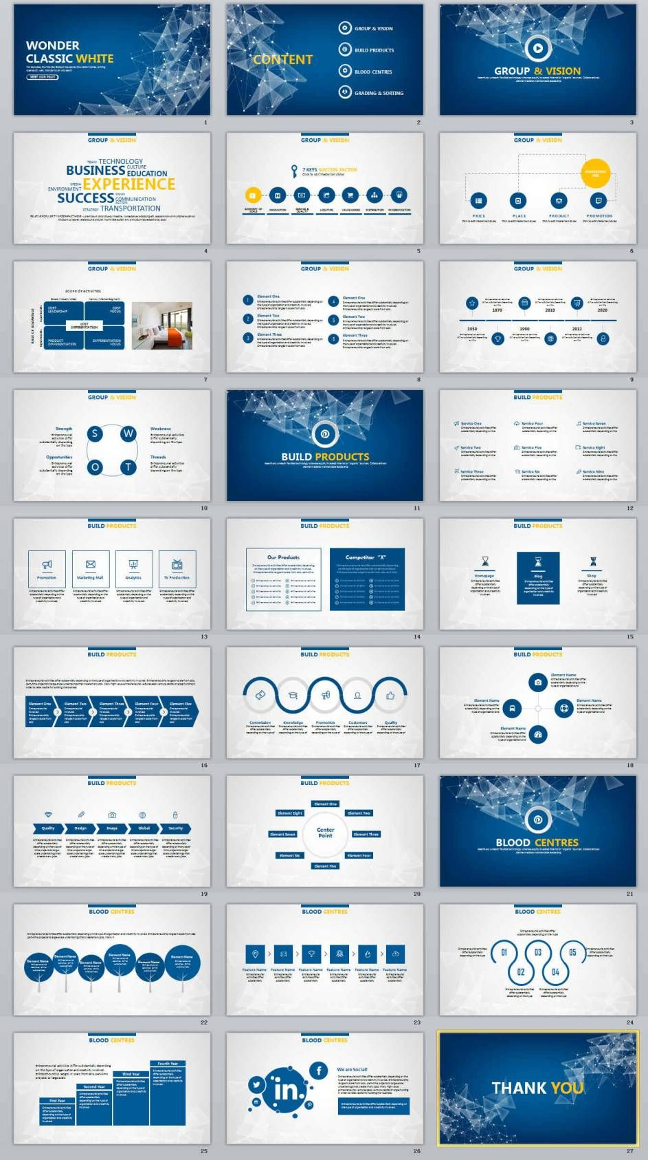 27  Blue Business Report Professional Powerpoint Templates