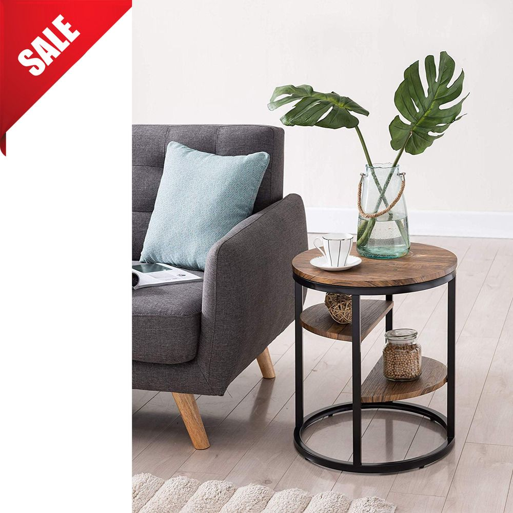 Industrial end table living room accent side bedroom nightstand
