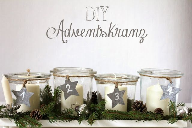 diy weihnachten advent adventskranz kerzen gl ser einfach tannenweige zapfen. Black Bedroom Furniture Sets. Home Design Ideas
