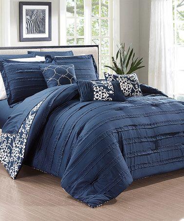 Navy Quinn Comforter Set Zulily Zulilyfinds Comforter