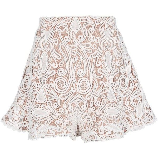 Alexis Women's Barron White Lace Shorts (4.849.025 IDR) ❤ liked on Polyvore featuring shorts, white, high-waisted shorts, white high waisted shorts, high rise shorts, high-rise shorts and lacy shorts