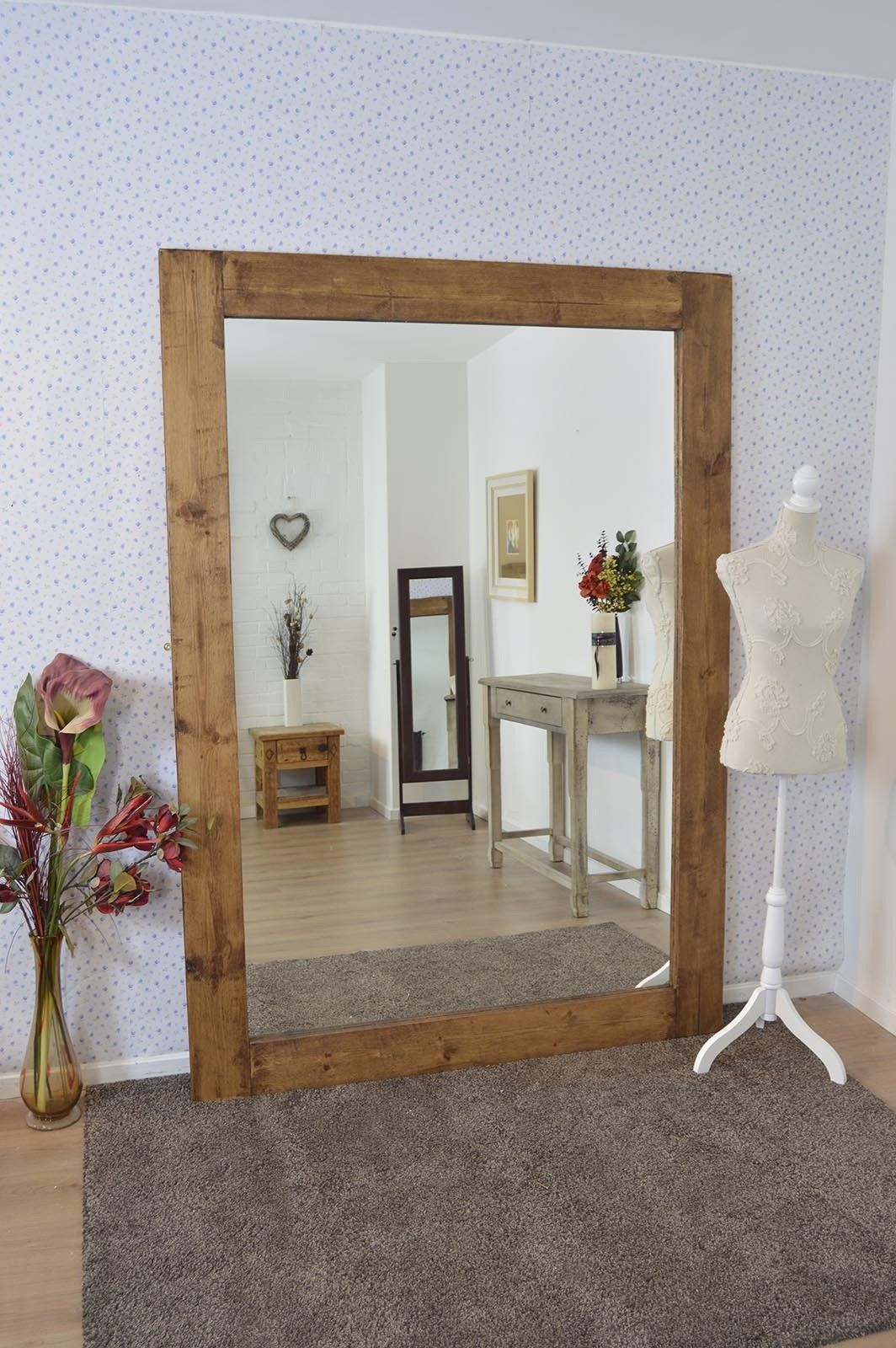 Large Solid Wood Frame Wall Mounted Mirror 7ft X 5ft 213cm 152cm