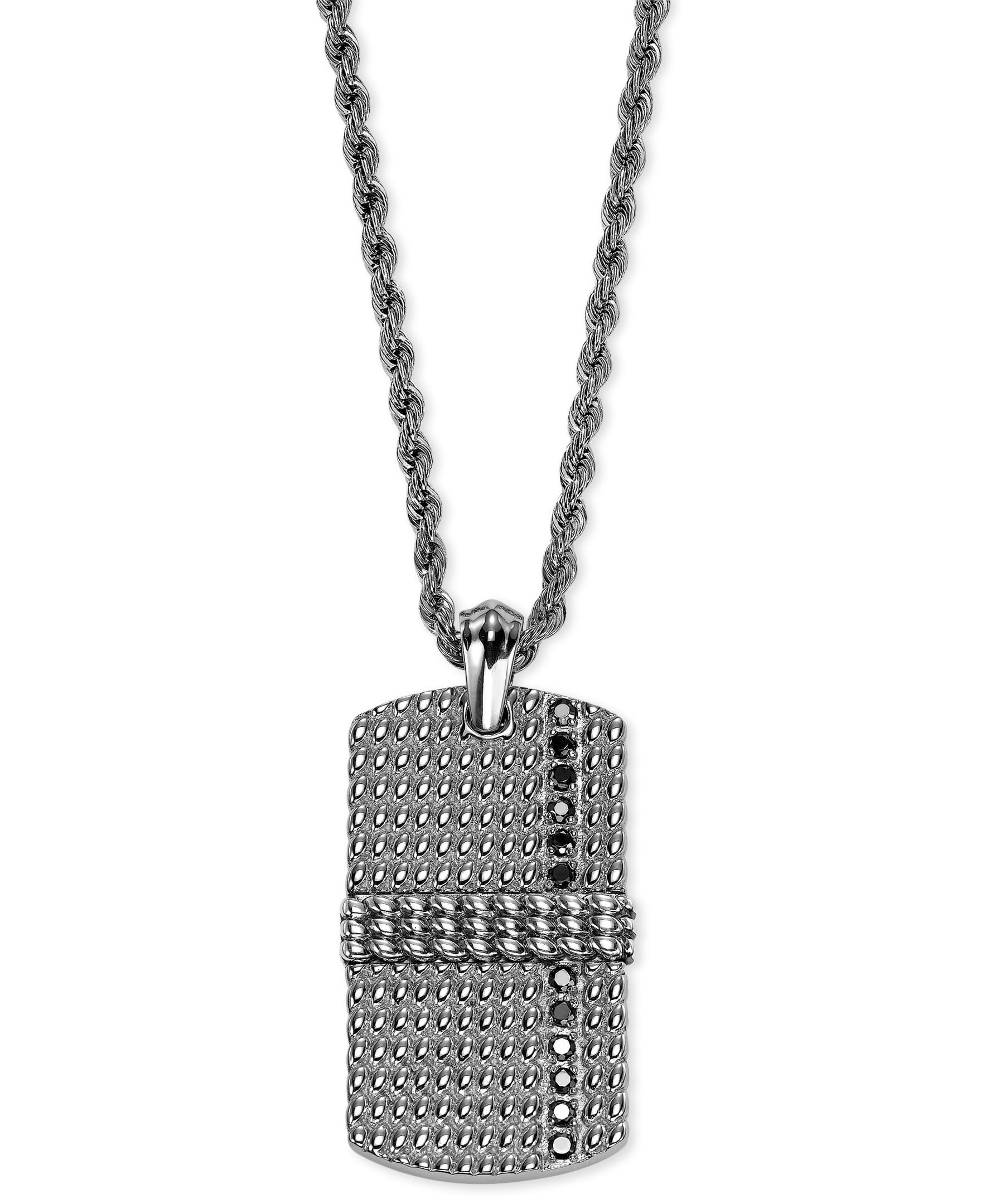 Triton Men s Stainless Steel and Sterling Silver Necklace Black