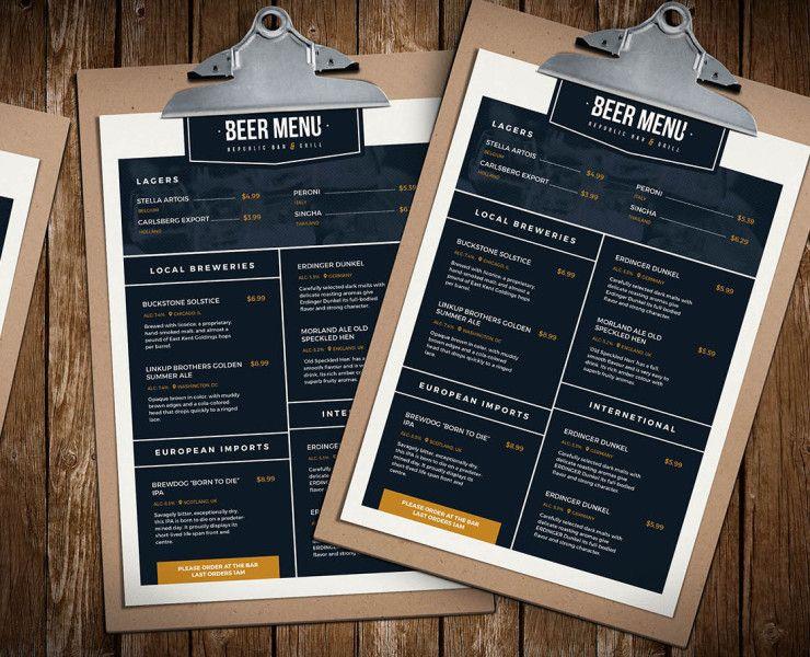 Beer Menu Template 微醺猫 Pinterest Menu templates and - beer menu
