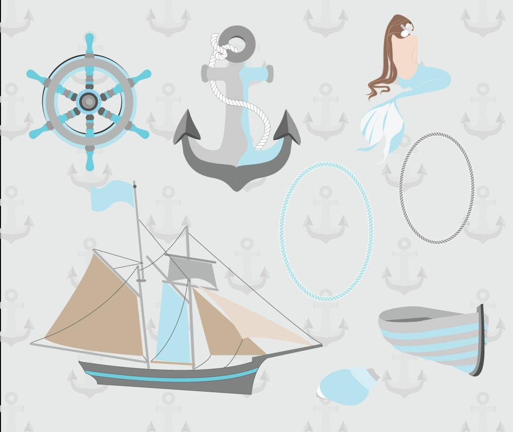 Nautical clip art high resolution graphic digital scrapbooking nautical clip art high resolution graphic digital scrapbooking planner stickers birthday card anchor boat mermaid by bookmarktalkfo Image collections