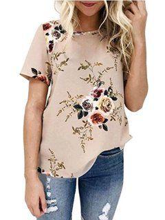 DYMADE Women's Short Sleeve Floral Printed T-Shirt