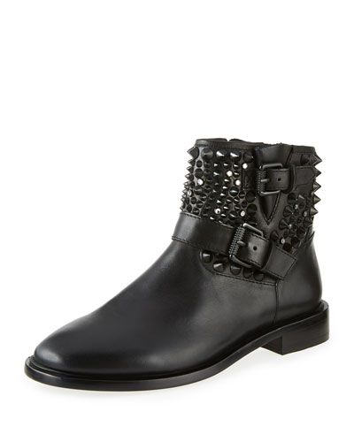 88b35ea2f7 X317Q Ash Punky Studded Leather Bootie, Black | These Boots Are Made ...