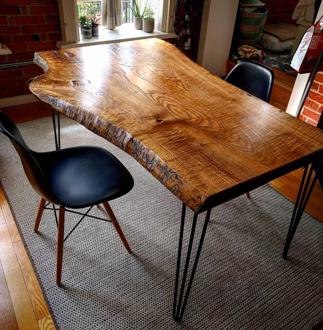 Live edge ash dining table on hairpin legs by barnboardstore com this is a great slab of ash that we stained lightly and finished with a satin clear coat