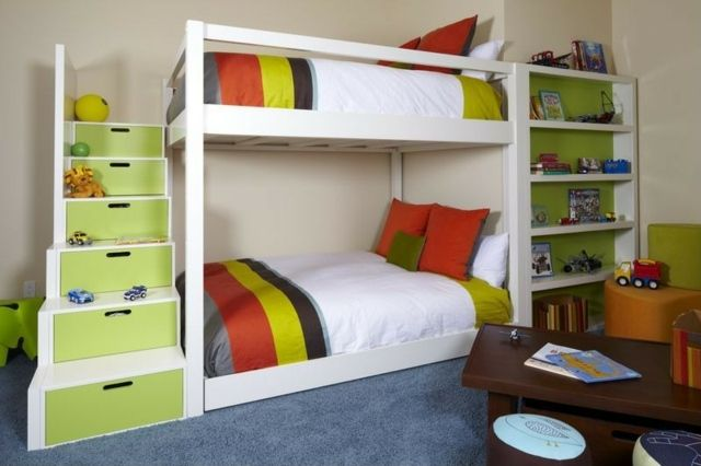Etagenbett Treppe Stauraum : Grüne farbe stauraum wandregal tisch teppichboden kostja s