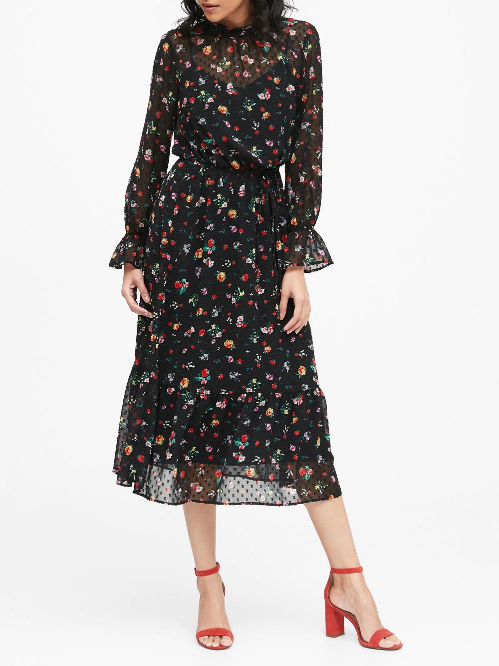 Sheer Clip Dot Midi Dress Banana Republic Women Long Sleeve Dress Midi Dress Midi Length Dress [ 1333 x 1000 Pixel ]