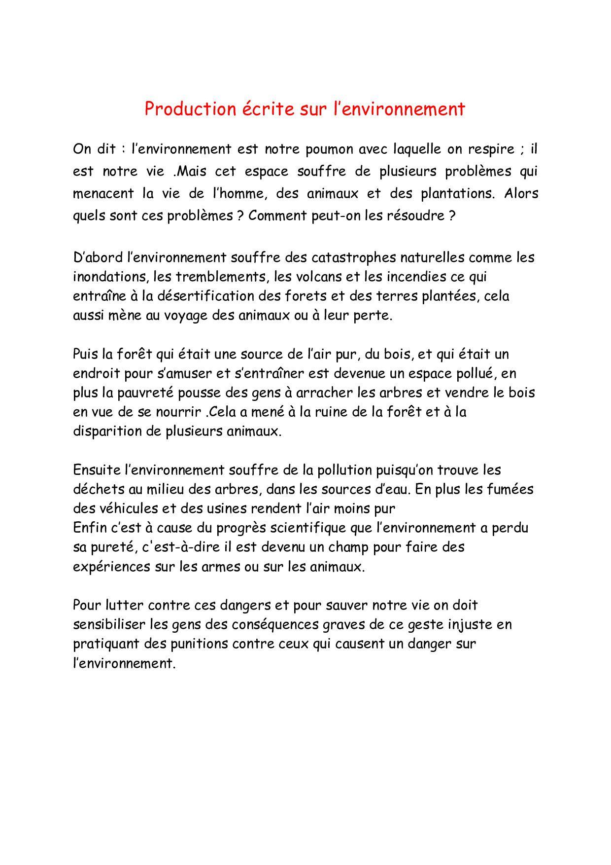 Epingle Par Essarhani Amina Sur Environnement Expression Ecrite Expressions Environnement