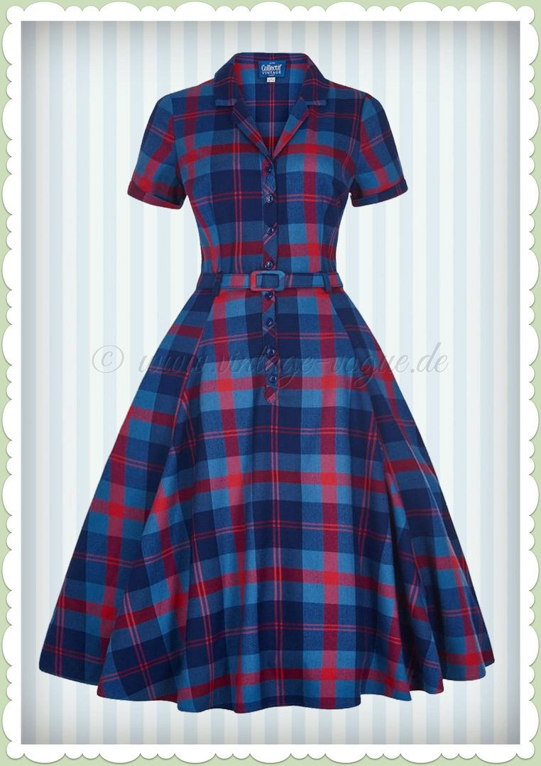 Collectif 40er Jahre Vintage Karo Swing Kleid -Caterina Merida ...