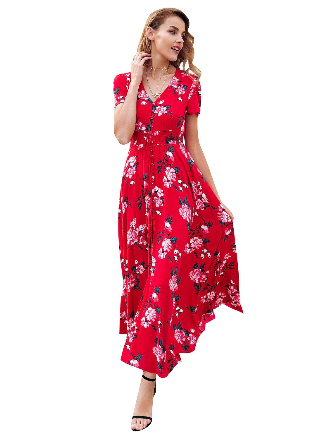 f101f6f5a1 Simplee Womens Casual V Neck Floral Print Boho Maxi Dress with Short Sleeves  * See this great product.-It is an affiliate link to Amazon. #dresses