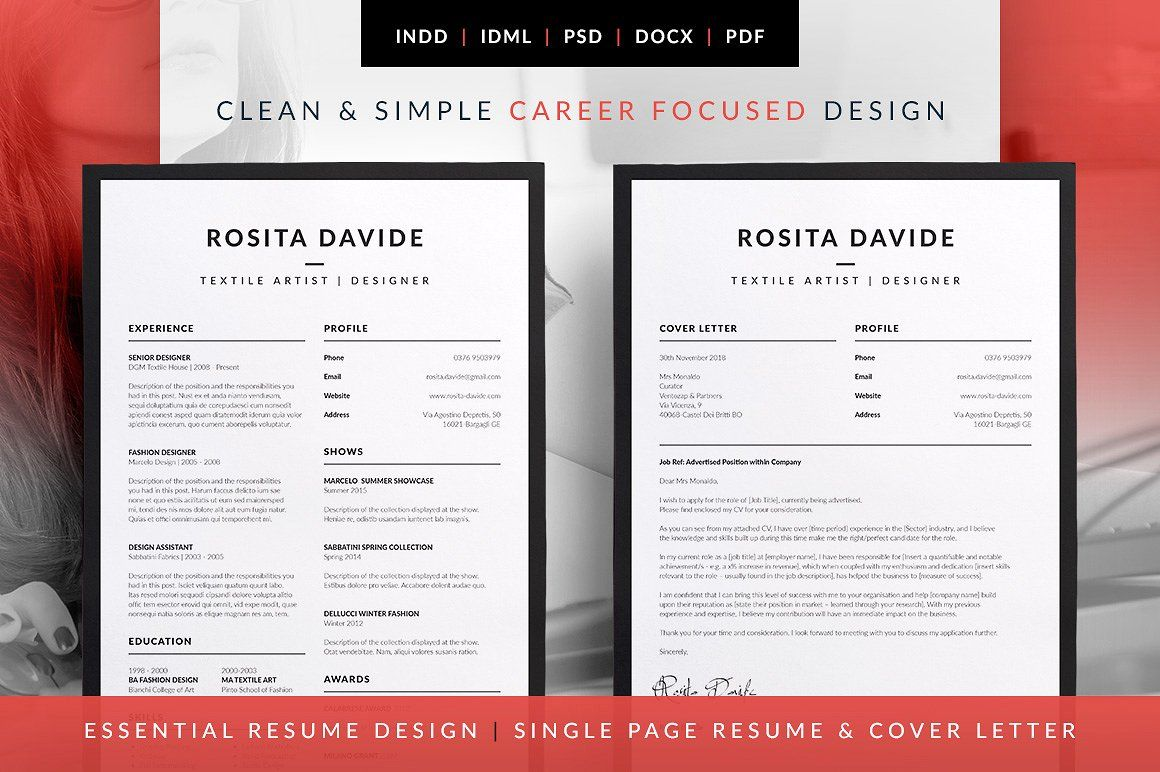 Single Page Resume Template An Attractive Resumecv Template With Super Clean And Modern Look