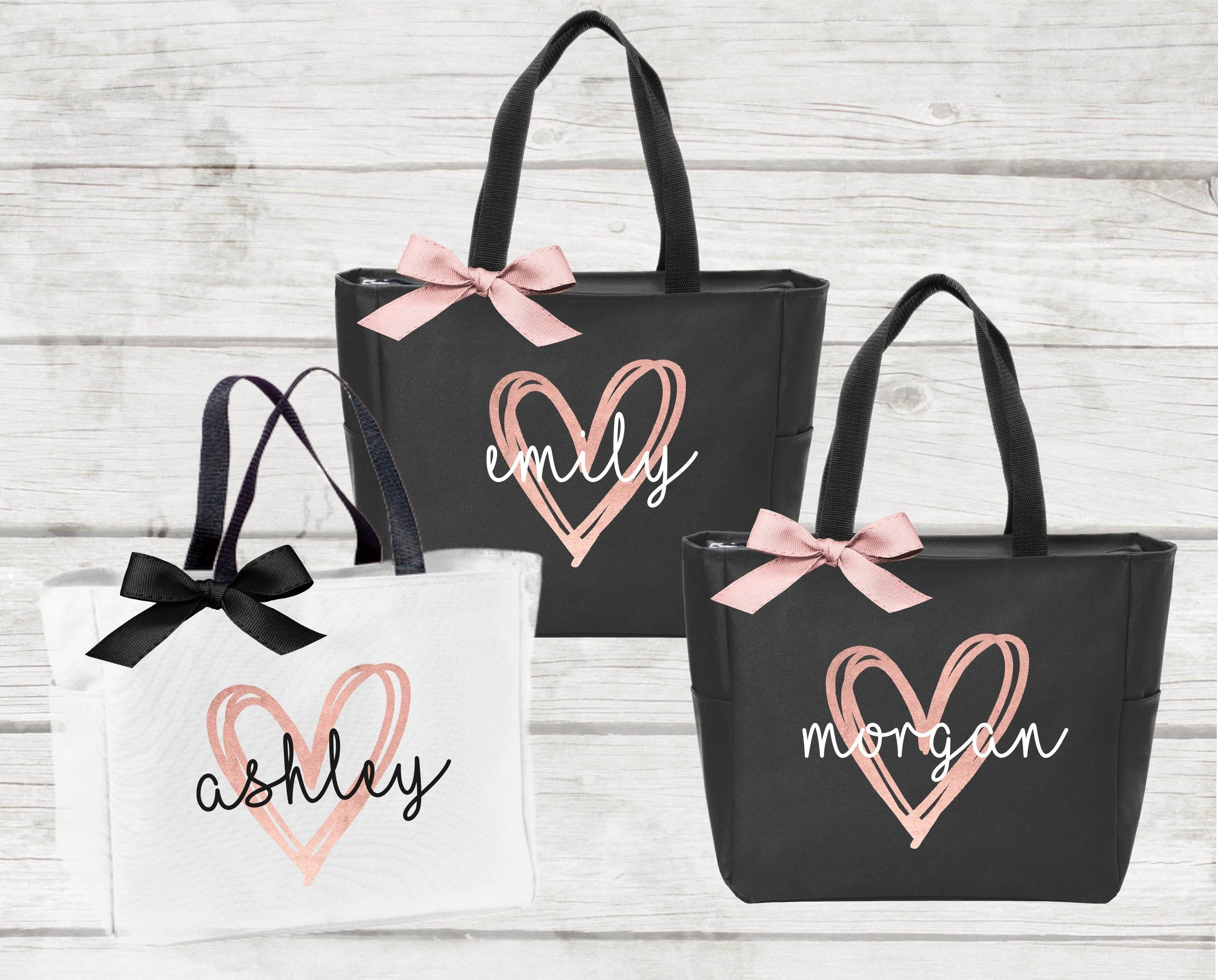 Bridesmaid Tote Bags, Maid of Honor Tote, Personalized Bridesmaid Bags, Bridal Party Bridesmaid Gifts (BR063)