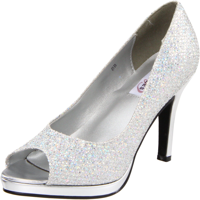 Womens Dyeables Sari Pumps Glitter Silver