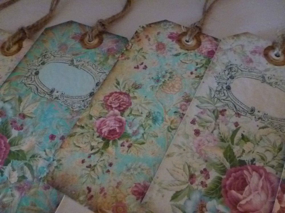 Shabby Chic Personalised Wedding Gift Tags Favour Place Cards Vintage Fl