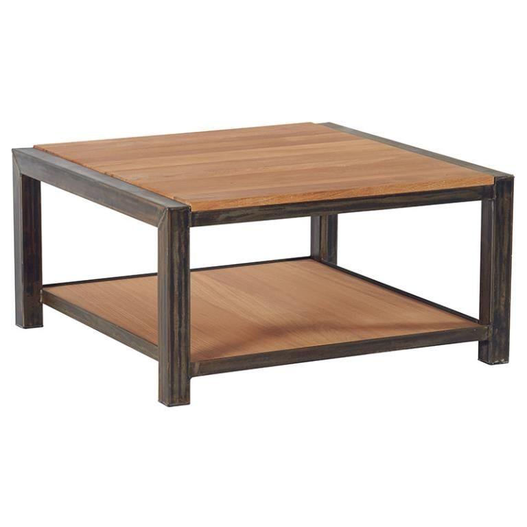 Table Basse Chene Et Metal Double Plateau 80x80x40 Ferscott Table Basse Chene Table Basse Carree Table Basse Carree Bois
