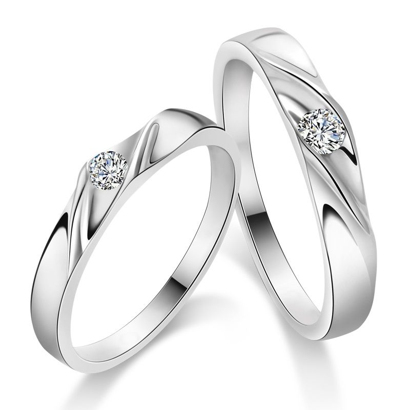 Couple 925 Sterling Silver Mens Ladies Promise Ring Wedding Bands Matching Set Yoyoon