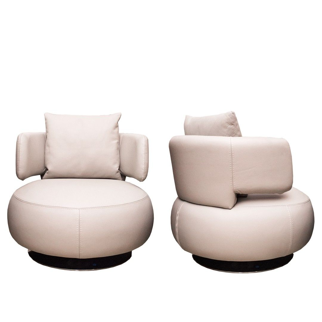 pair of roche bobois leather curl chairs at decornyc current