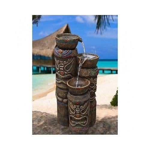 Garden Tiki Water Fountain Patio Outdoor Decor Pool Yard Art 3 Tier Statue  New