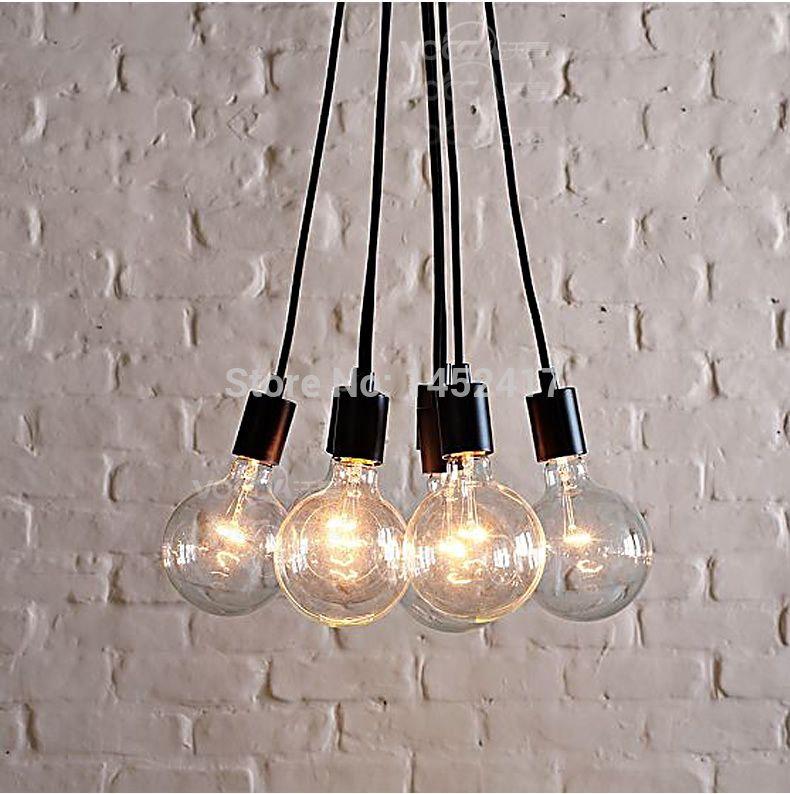 pas cher new contemporain edison 7 ampoules chandelier pendant lamp light bar salle manger. Black Bedroom Furniture Sets. Home Design Ideas