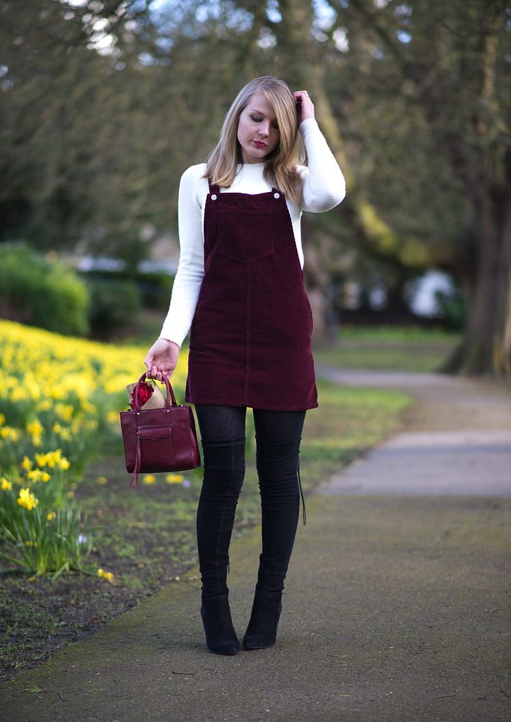 Topshop Pinafore Corduroy Dress With Thigh High Boots