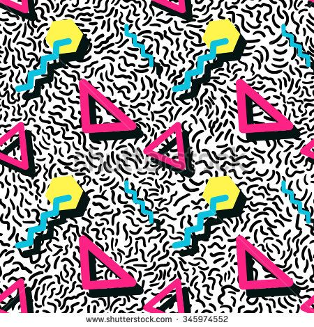 Vector Illustration of Seamless pattern in memphis style Design