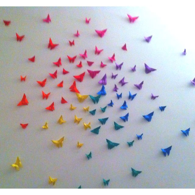 Rainbow origami butterfly wall decor diy i would do this for Origami decorations for your room