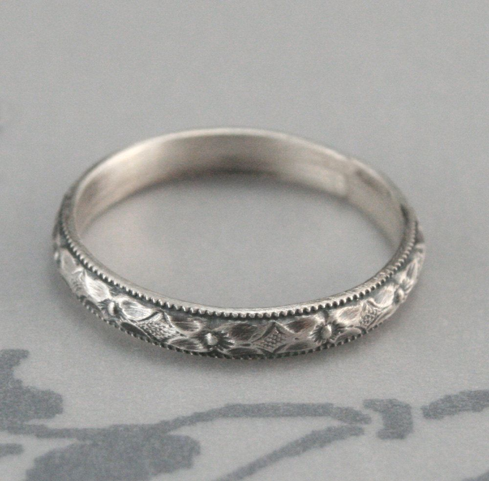 Renaissance Wedding Band or Stacking RingDiamond and by ...
