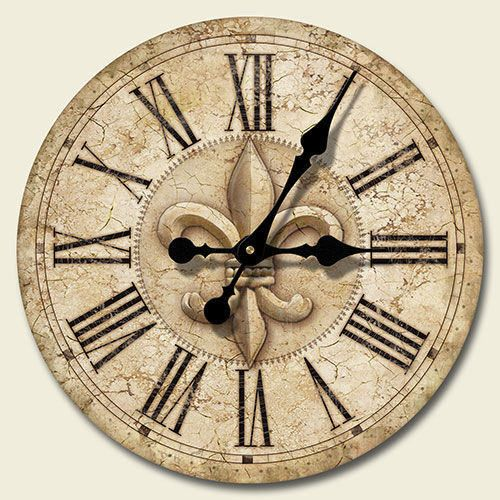 New Xl Fleur De Lis Wall Clock French Decor 16 Hanging Relogio