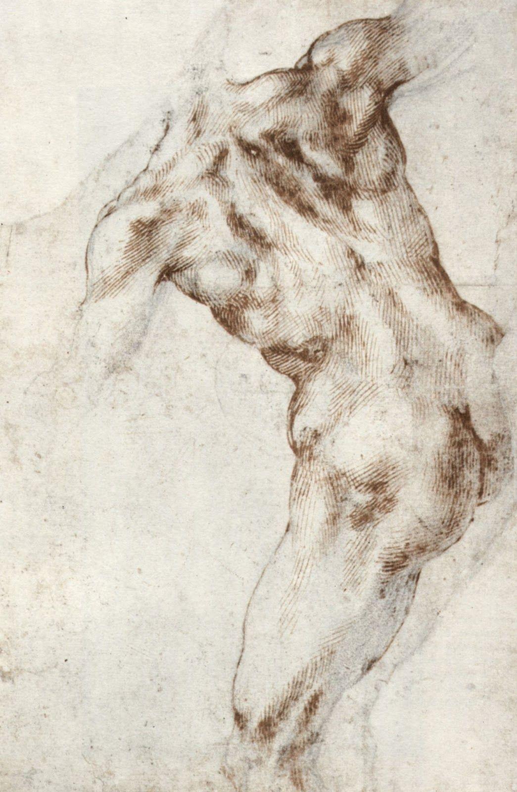 Michelangelo Buonarroti - Studio di una gamba e di un piede      Michelangelo Buonarroti - Studio di una gamba destra in veduta late...