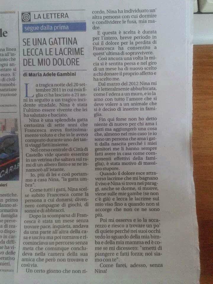 STEFANO BALESTRA: UNA LETTERA COMMOVENTE...