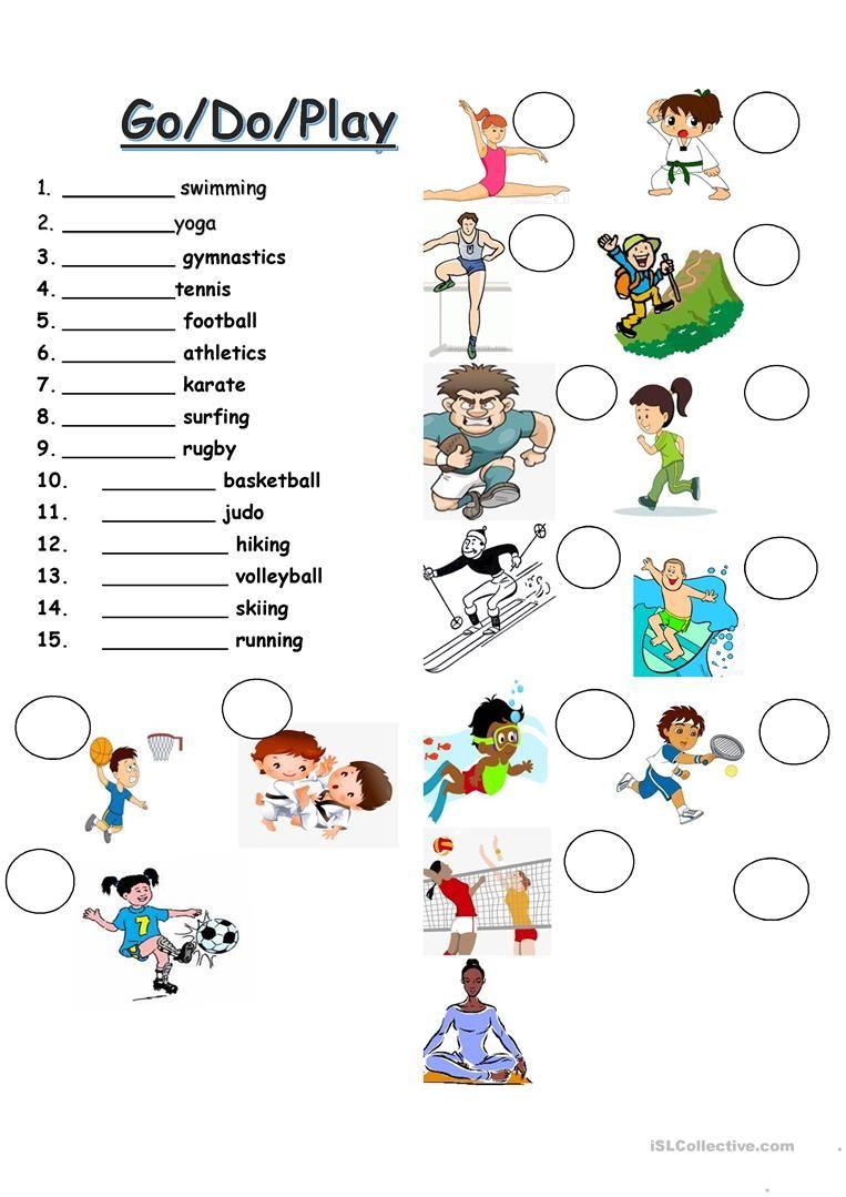 Do Go Play Sports English Esl Worksheets Sport English English Lessons For Kids Kindergarten Worksheets