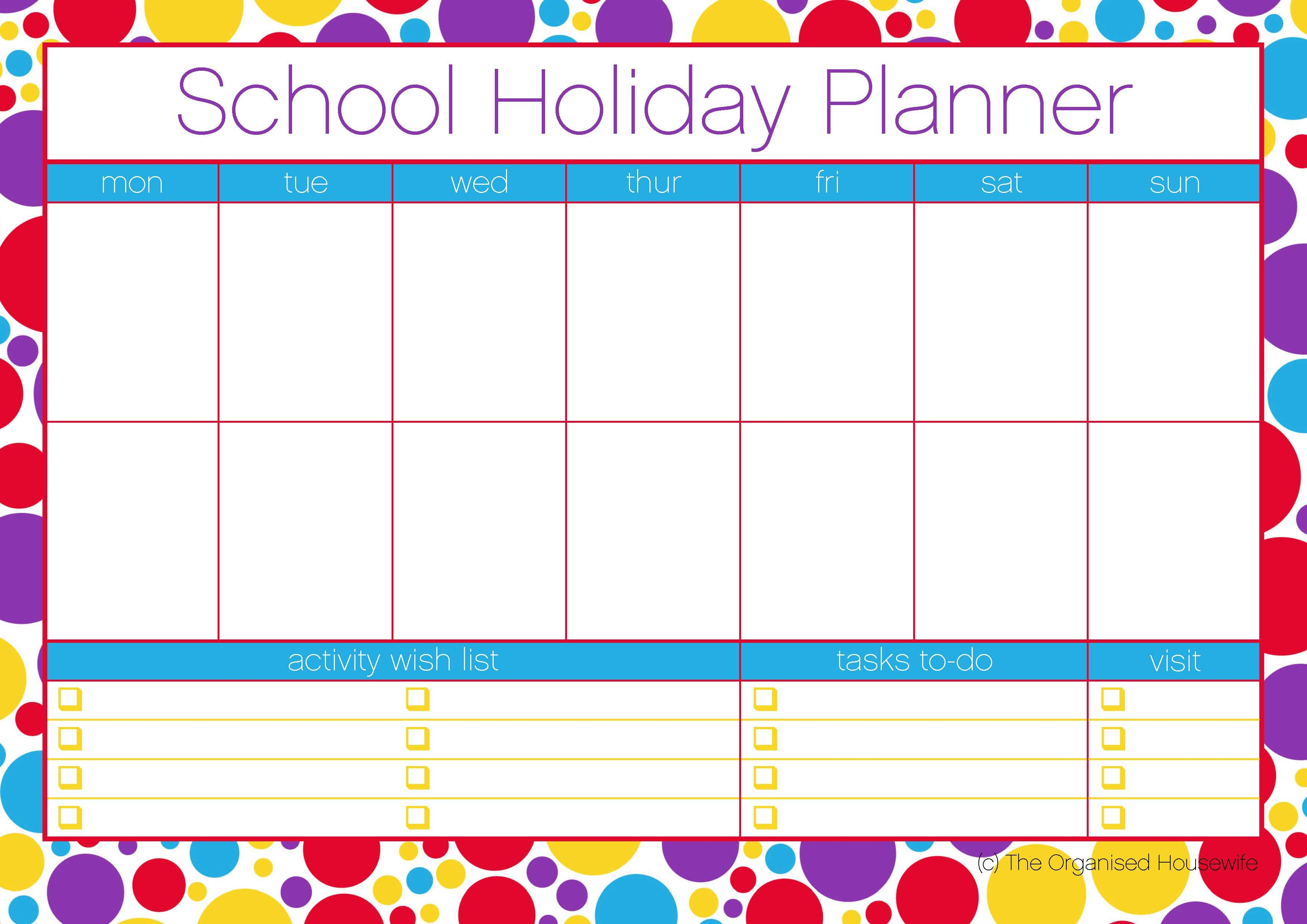 Printable Free School Holiday Planner