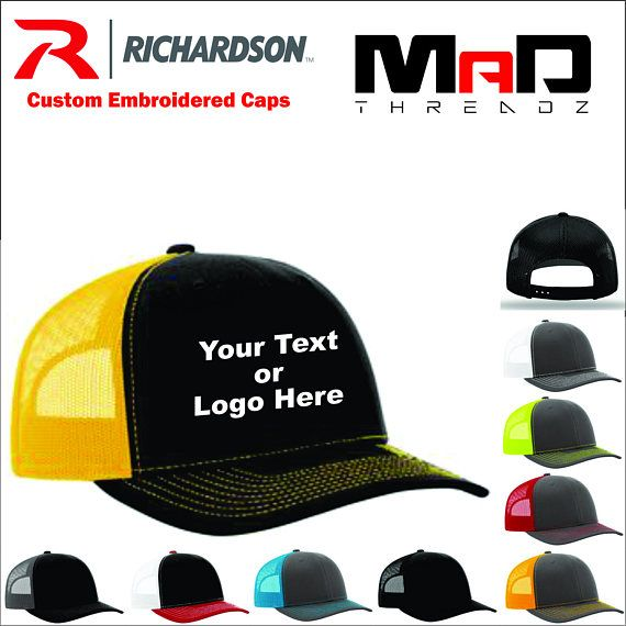 Personalized Richardson Trucker Hat Custom Embroidered Hat Your Text Here Your Logo Embroidery Personalized Snapback Hat Business Logo Custom Embroidered Hats Personalized Hats Trucker Hat