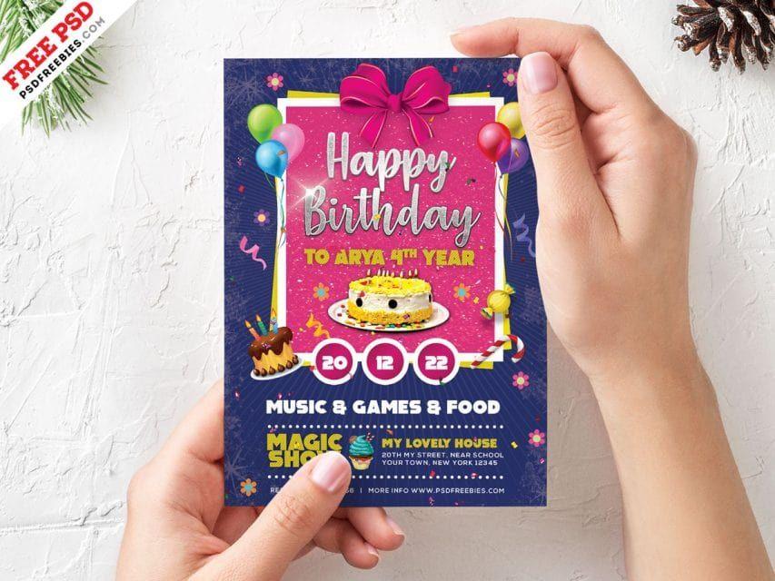 Free Birthday Card Invitation Template Psd Free Cards Carddesign Birthday Birthdaycard Birthday Card Template Free Free Birthday Card Card Templates Free