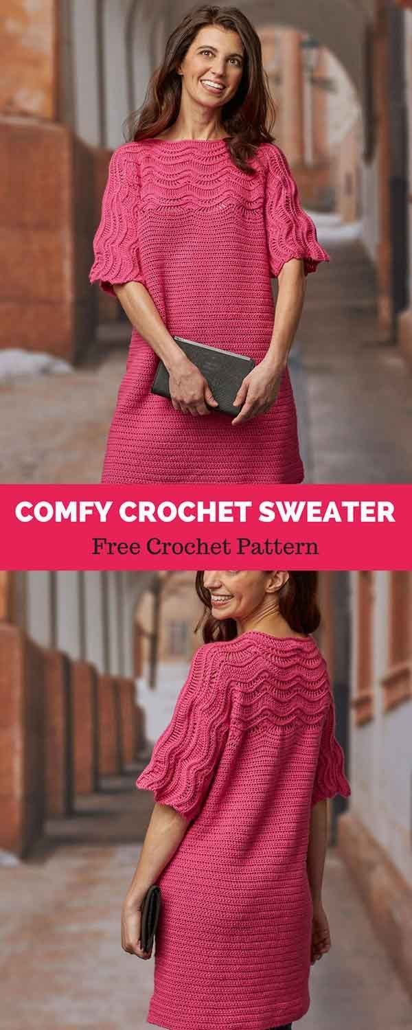 Comfy Crochet Sweater [ FREE CROCHET PATTERN | Pinterest | Ganchillo ...