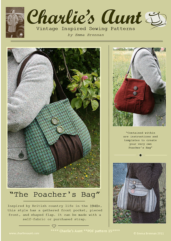 Sewing pattern to make The Poacher\'s Bag - PDF pattern INSTANT ...