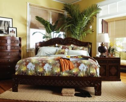 Hawaiian Theme With Plants Master Bedrooms Decor Tropical