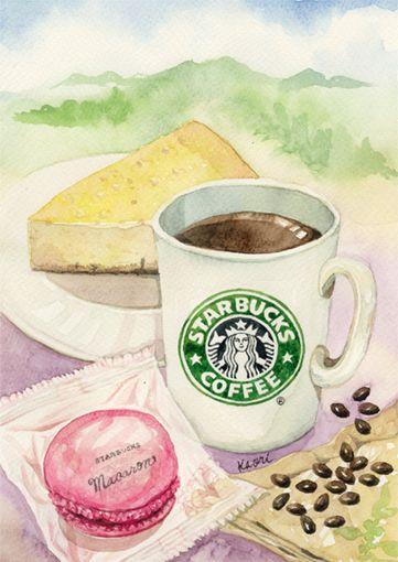 Coffee Illust 食品イラスト カフェイラスト スタバ 壁紙