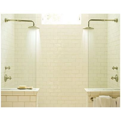 Great Double Shower Design Idea  One Entrance With 2 Panels (instead Of Trendier  Walk Through