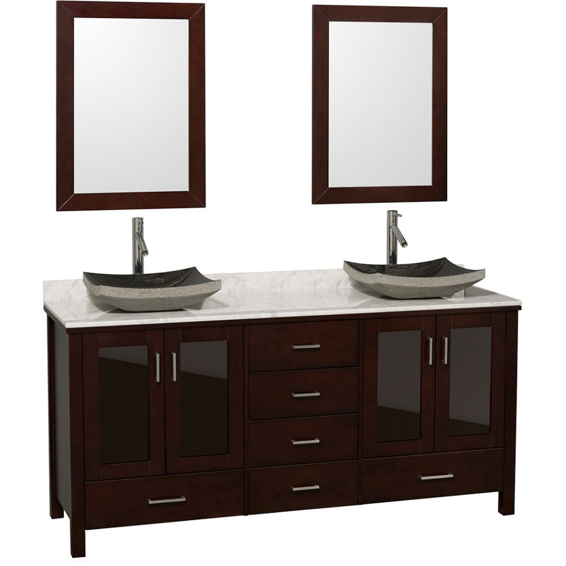 Brown Stained Wooden Vanity