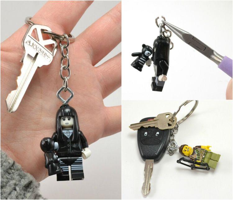 Schlüsselanhänger Selber Machen Lego Mini Plastik Figur Kette