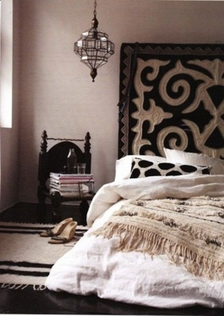 66 Mysterious Moroccan Bedroom Designs | DigsDigs  Like the bed on the floor and tall headboard